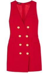 Balmain Button Embellished Wool Twill Mini Dress Red
