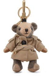 Burberry Checked Cashmere Keychain Camel