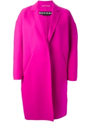 Rochas Oversized Cocoon Shape Coat Pink And Purple