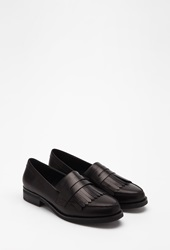 Forever 21 Fringed Faux Leather Loafers Black