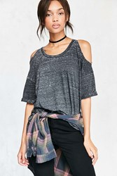 Pins And Needles Dropout Cold Shoulder Tee Black