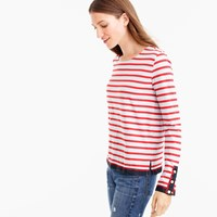 J.Crew Grosgrain Ribbon Striped T Shirt With Nautical Buttons