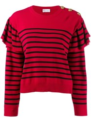 Red Valentino V Striped Knitted Jumper Red