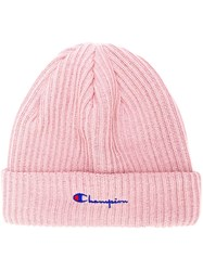 Champion Embroidered Logo Beanie Pink And Purple