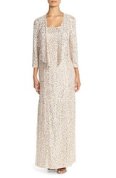 Women's Alex Evenings Sequin Embroidered Mesh A Line Gown And Jacket
