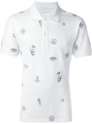 Alexander Mcqueen Tattoo Print Polo Shirt White