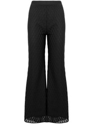 M Missoni Flared Lace Trousers Black
