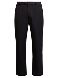 Raey Flat Front Twill Chino Trousers Navy