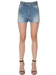 Cycle High Waisted Stretch Cotton Denim Shorts Blue