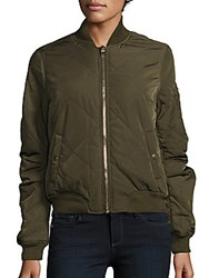 Romeo And Juliet Couture Quilted Bomber Jacket Olive