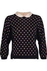 Red Valentino Printed Wool Silk And Cashmere Blend Sweater Black