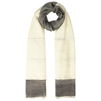 Whistles Wool Blend Colour Block Scarf Grey