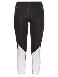 Alala Captain Mesh Insert Cropped Performance Leggings Black White