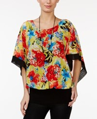 Miraclesuit Floral Print Banded Hem Kimono Top