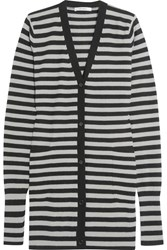 Max Mara Striped Cashmere Cardigan Gray