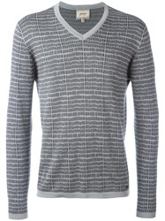 Armani Collezioni Patterned V Neck T Shirt Grey