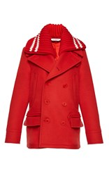 Givenchy Heavy Wool Blend Coat Red