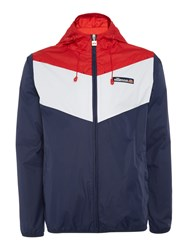 Ellesse Men's Hooded Tri Colour Zip Up Waterproof Jacket Navy