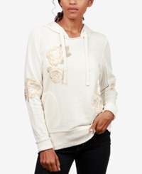 Lucky Brand Cotton Floral Embroidered Hoodie Natural Multi