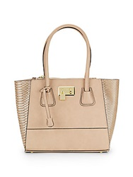 London Fog Hudson Metallic And Matte Faux Leather Satchel Taupe