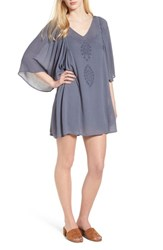 Hinge Embroidered Dress Grey Grisaille