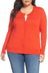 Sejour Plus Size Women's Crewneck Cardigan Red Fiery