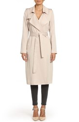 Badgley Mischka Women's Faux Leather Trim Long Trench Coat Fog