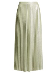 Adam By Adam Lippes Metallic Pleated Wrap Around Maxi Skirt Light Green