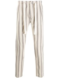Entre Amis Striped Tapered Trousers Neutrals