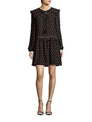 Max Studio Printed Long Sleeve Ruffled Dress Black Ivory