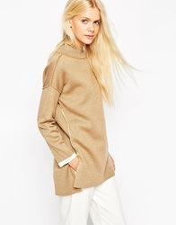 Asos Bonded Jumper With Turtle Neck Camel