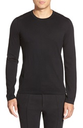 Hugo 'Scroco' Extra Trim Fit Cotton Silk And Cashmere Sweater With Faux Leather Trim Black