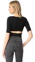 Alexander Wang Short Sleeve Back Slit Tee Black