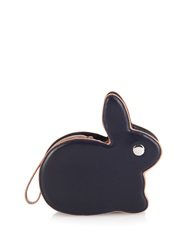 Hillier Bartley Bunny Contrast Piping Leather Clutch