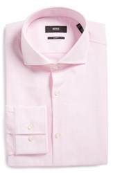 Boss Men's Big And Tall Jason Slim Fit Houndstooth Dress Shirt Light Pastel Pink