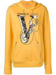 Versace Jeans Printed Logo Pullover Hoodie Yellow And Orange
