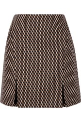 Wes Gordon Stretch Wool And Angora Blend Mini Skirt Brown
