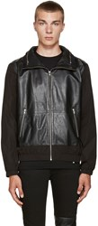 Mcq By Alexander Mcqueen Black Leather Windbreaker Jacket