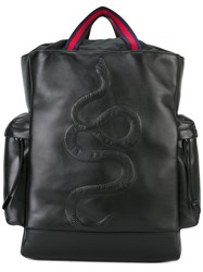 Gucci Kingsnake Embroidered Backpack Women Cotton Calf Leather One Size Black