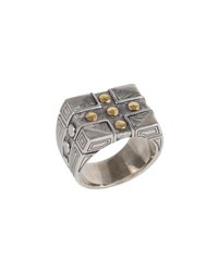 Konstantino Men's Sterling Silver And 18K Gold Cross Signet Ring Gray Yellow