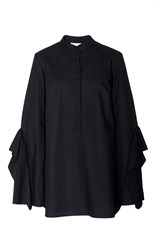 Acler Sloan Black Button Up Ruffled Shirt