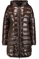 Duvetica Quilted Shell Down Coat Dark Brown