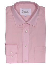 Double Two Men's Plain Non Iron Micro Twill Shirt Pink