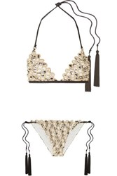 Missoni Mare Metallic Crochet Knit Triangle Bikini White