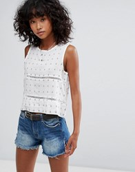 D.Ra Selma Cropped Blouse Mission Viejo White