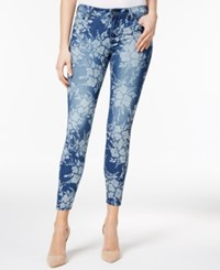 Kut From The Kloth Floral Print Indigo Wash Skinny Ankle Jeans