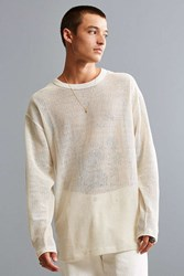 Urban Outfitters Uo Mesh Long Sleeve Tee Ivory
