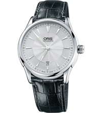 Oris 73375914091Ls Artelier Stainless Steel And Leather Watch