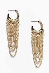 Boohoo Lexi Small Hoop Chain Chandelier Earrings Gold