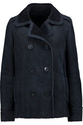 Karl By Karl Donoghue Shearling Lined Nubuck Coat Storm Blue